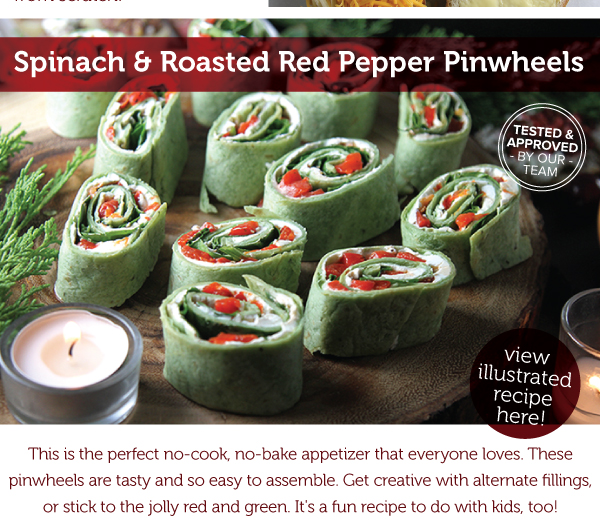 RECIPE: Spinach and Roasted Red Pepper Pinwheels