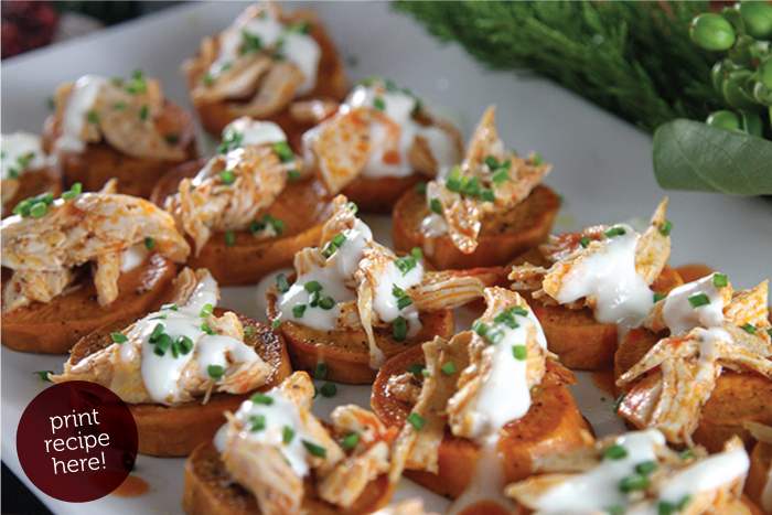 Buffalo Chicken Sweet Potato Bites