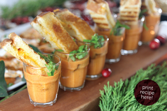 Grilled Cheese Tomato Soup Shooters