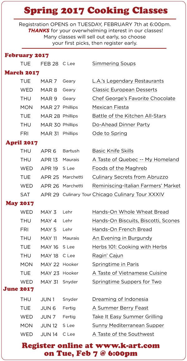 Spring Class List