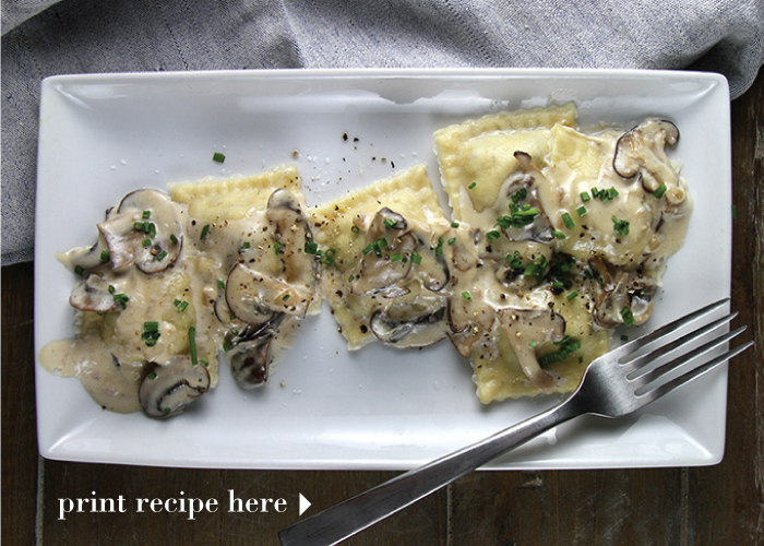 Three Mushroom Ravioli with a Marsala Cream Sauce