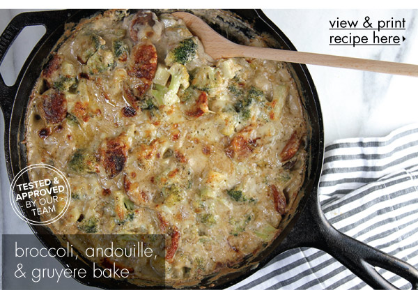 RECIPE: Broccoli, Andouille and Gruyere Bake