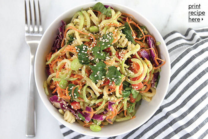 Spiralized Broccoli Salad with Ginger Peanut Dressing