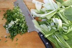 Cutting bok choy