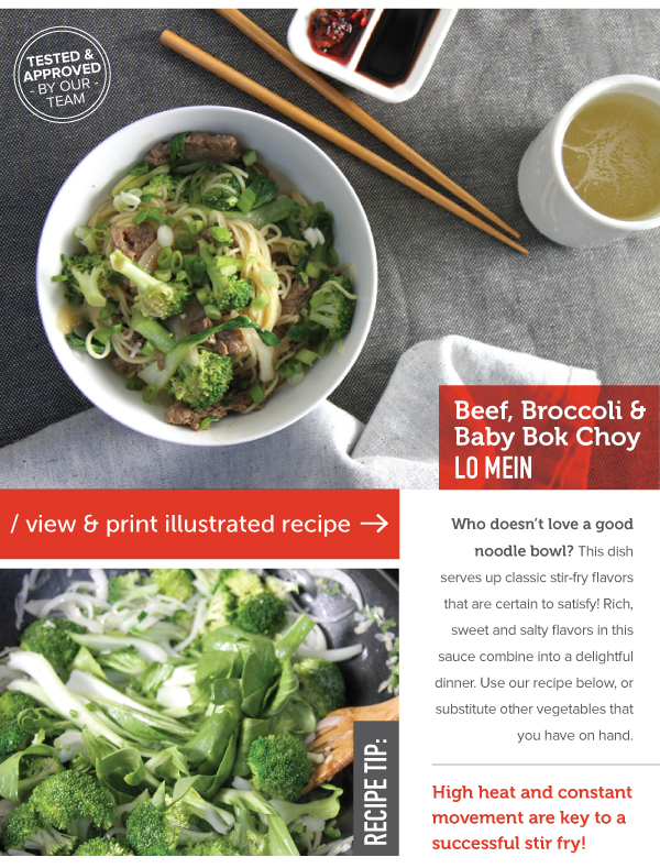 RECIPE: Beef, Broccoli and Baby Bok Choy Lo Mein