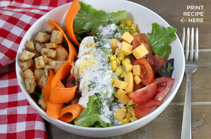 Hearty Chop Salad with Creamy Garlic Dressing