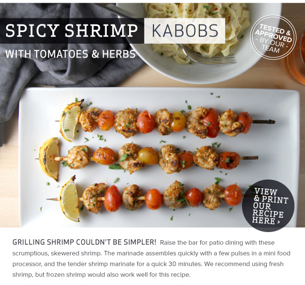 Spicy Shrimp Kabobs with Tomatoes and Herbs