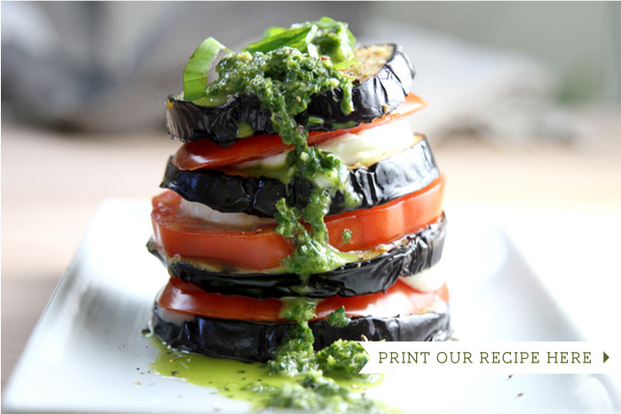 Grilled Eggplant Caprese Stacks with Fresh Herb Pesto