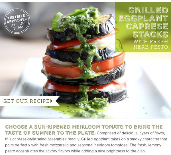 RECIPE: Grilled Eggplant Caprese Stacks with Fresh Herb Pesto