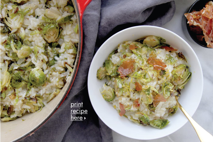 Lemon & Brussels Sprouts Risotto with Crispy Prosciutto