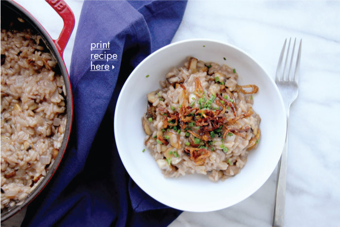 Savory Mushroom Risotto with Crispy Shallots and Chives