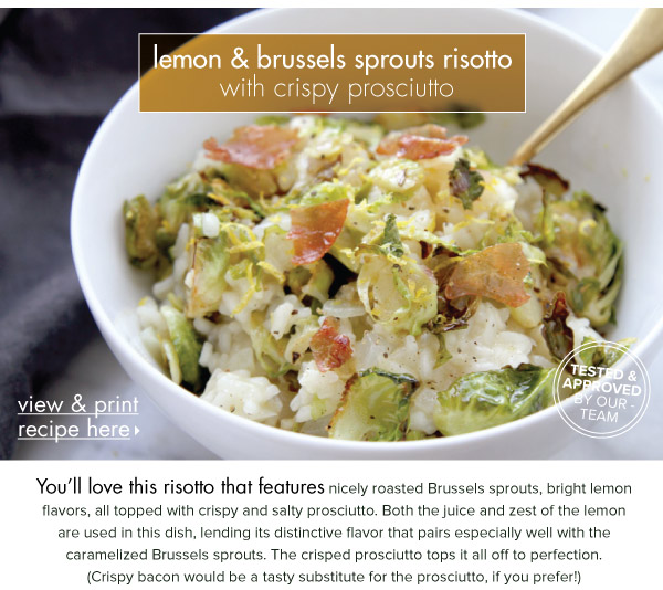 RECIPE: Lemon and Brussels Sprouts RIsotto with Crispy Prosciutto