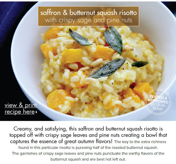 RECIPE: Saffron and Butternut Squash Risotto with Crispy Sage and Pine Nuts