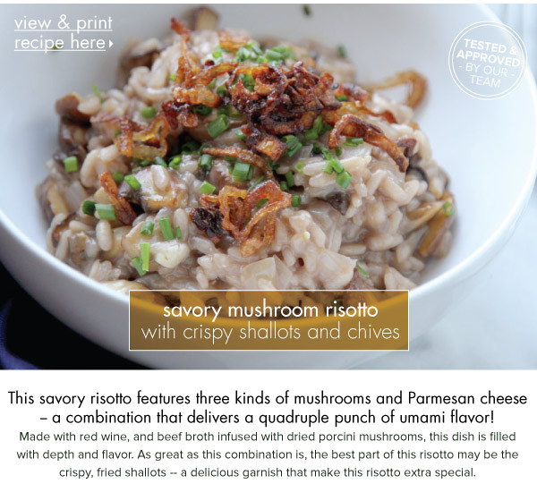 RECIPE: Savory Mushroom Risotto with Crispy Shallots and Chives