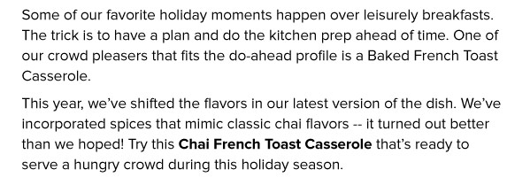 Chai French Toast Casserole