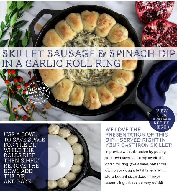 Skillet Sausage and Spinach Dip in a Garlic Roll RIng