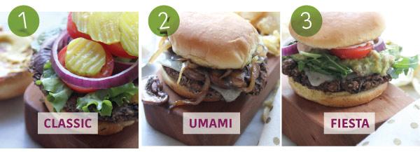 Three Black Bean Burgers