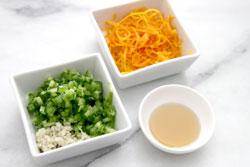 Minced Jalapeno, garlic, ginger, orange zest and seasame oil