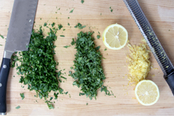 Mince Herbs and zest and juice lemon