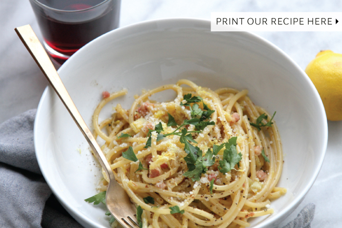 Bucatini alla Carbonara with Lemon, Leeks & Pancetta