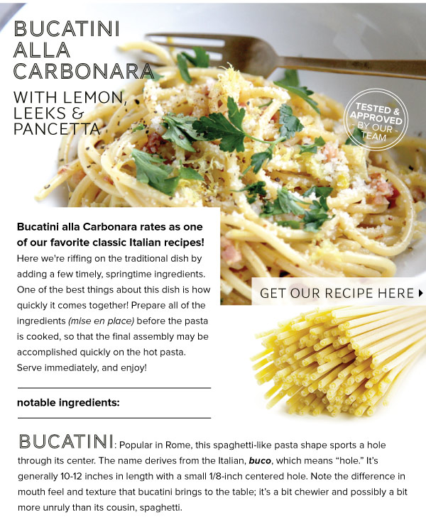 RECIPE: Bucatini alla Carbonara with lemon, leeks, and pancetta