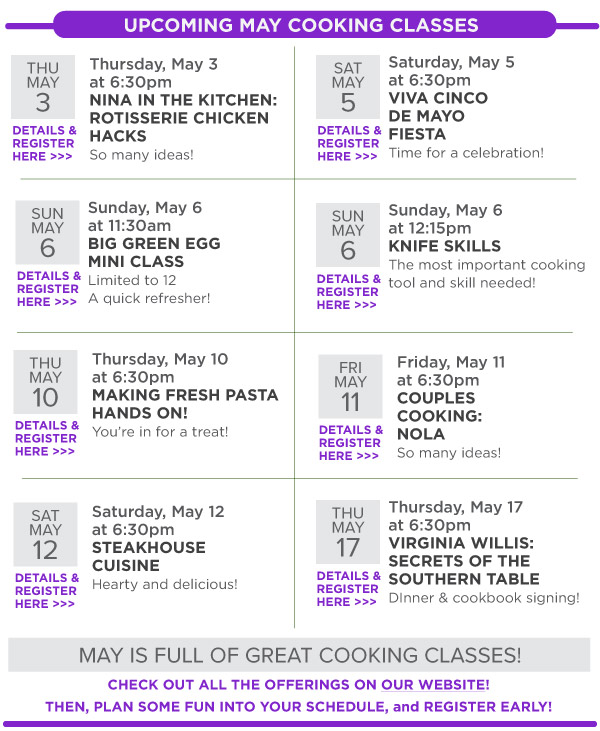 May Cooking Classes