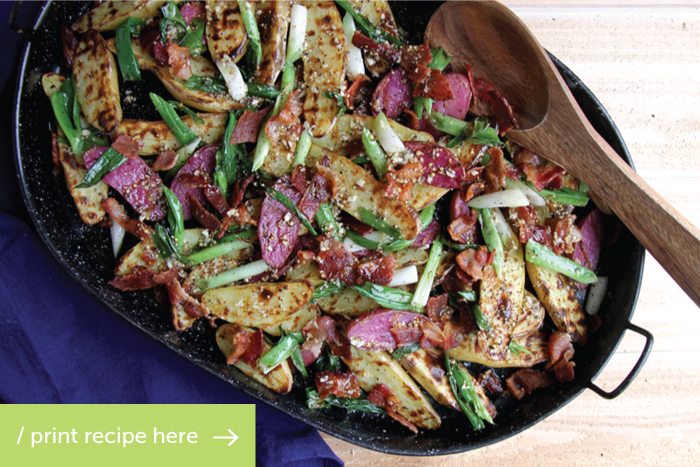 Grilled Potato Salad with Bacon, Green Onions, and a Mustard Garlic Vinagrette