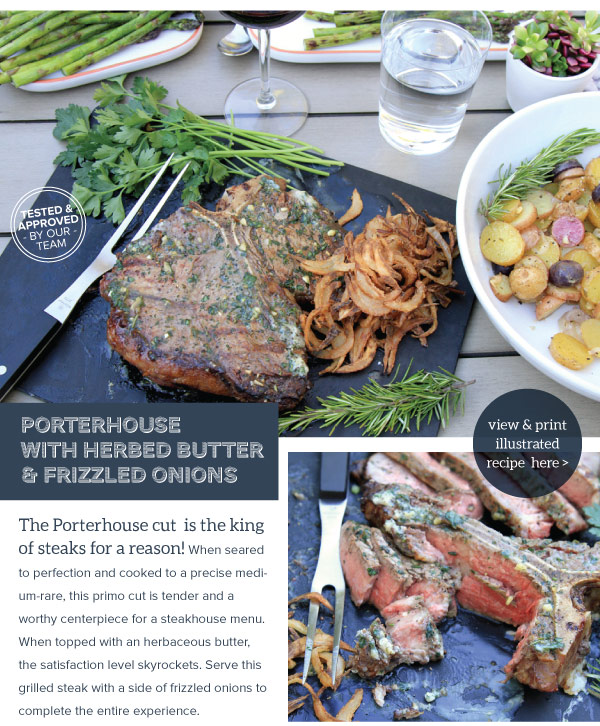 RECIPE: Porterhouse with Herbed Butter and Frizzled Onions