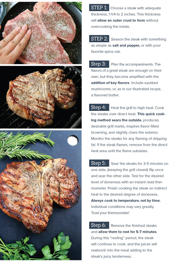 Steps for grilling a steak