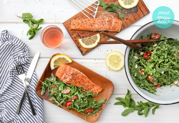 Cedar Plank Salmon with Tomato, Feta, and Arugula Salad