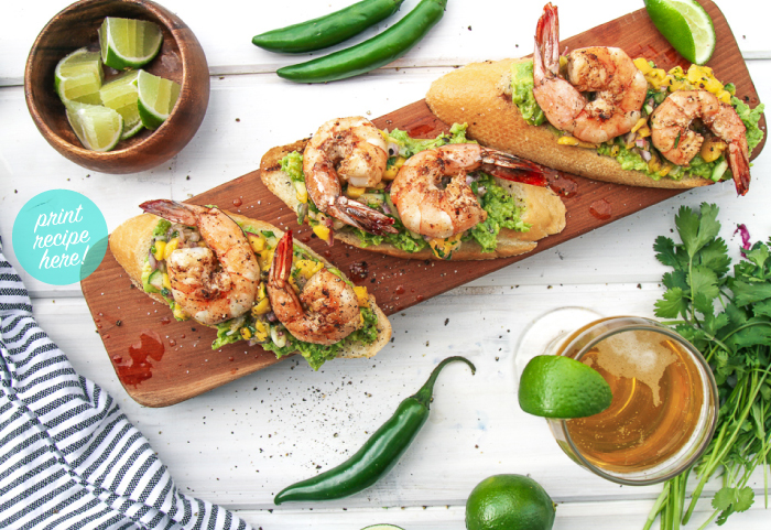 Salt Block Grilled Shrimp and Avocado Crostini