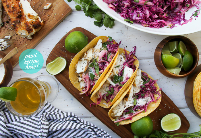Grilled Halibut Tacos with Red Cabbage Slaw and Spicy Crema