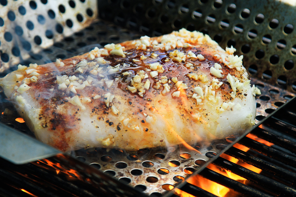 Grilling the halibut