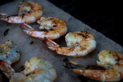 Grill shrimp on the salt block