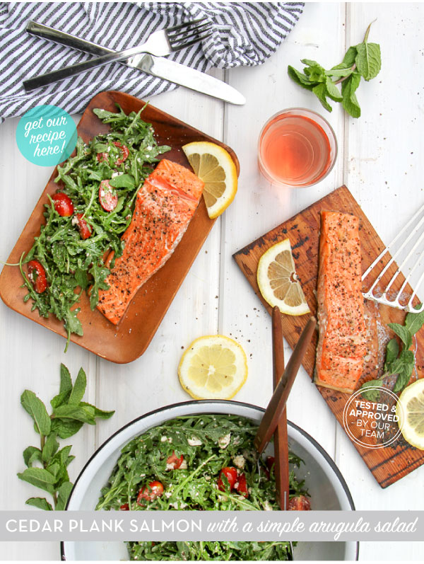 RECIPE: Cedar Plank Salmon with a simple arugula salad