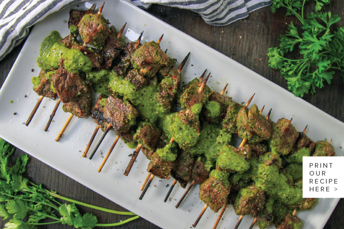 Chimichurri Steak Skewers