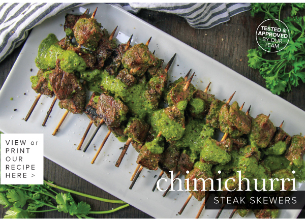 RECIPE: Chimichurri Steak Skewers