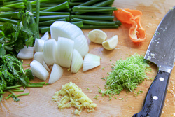 Chopping Marinade Ingredients