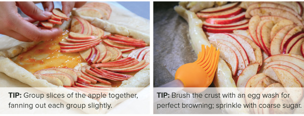 Arrange apple slices and brush pastry with egg wash