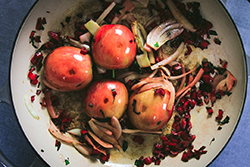 Saute Apples, Fennel and Swiss Chard Stems