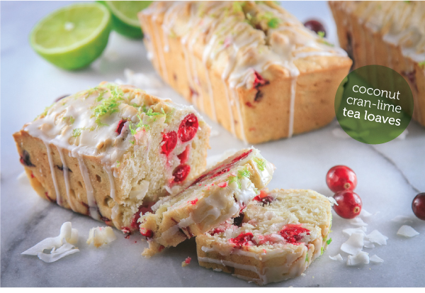 Coconut Cran-Lime Tea Loaves