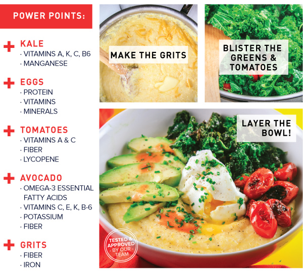 Hearty Egg, Grits, Greens Bowl