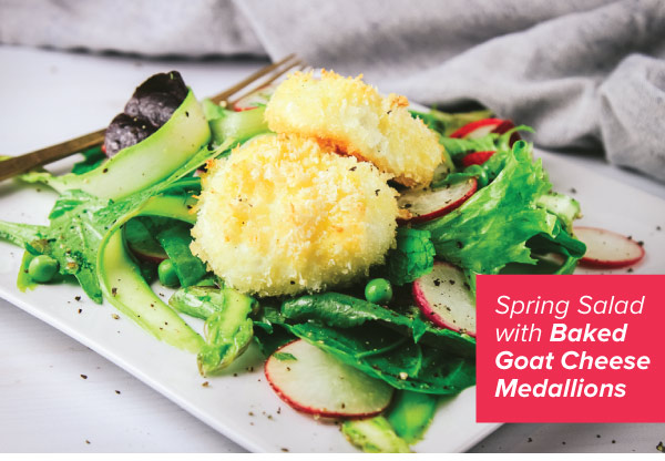 Spring Salad with Baked Goat Cheese Medallions