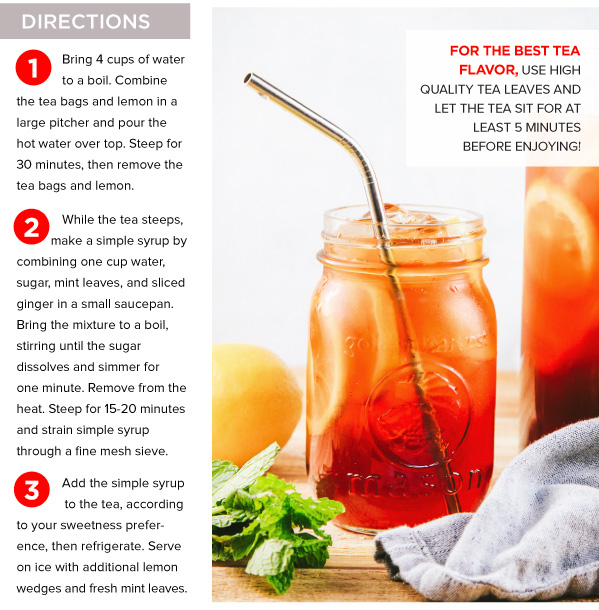 Lemon Ginger Mint Sweet Iced Tea