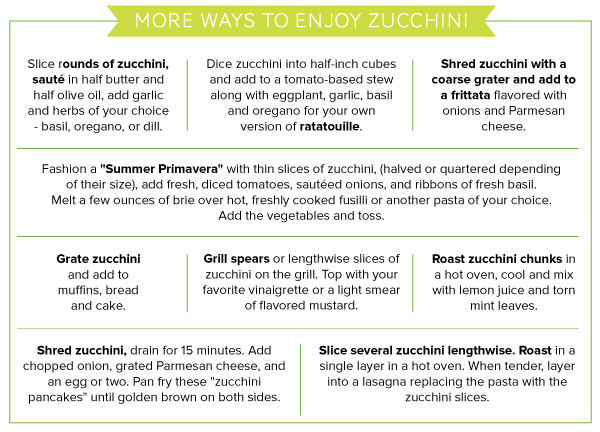 More Ways to Enjoy Zucchini
