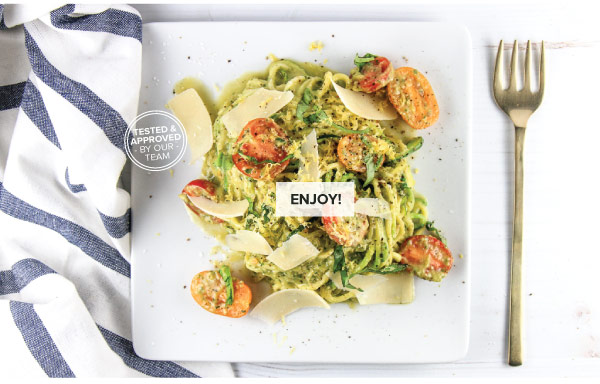 Zoodles with Avocado Pesto & Tomatoes